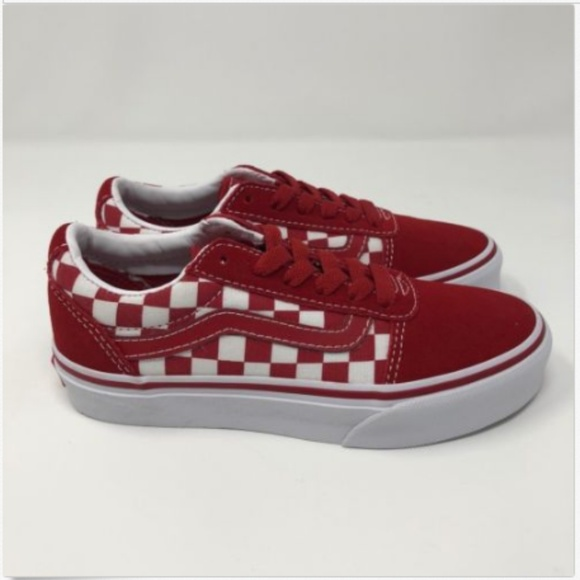 Vans Boys Youth 13 Ward Red Suede Canvas Checkered 22292bce4